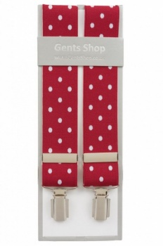 Red Trouser Braces with Large White Polka Dots